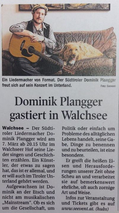 Dominik Plangger gastiert in Walchsee, Tirol